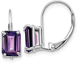 14k White Gold 7x5mm Purple Amethyst Leverback Earrings Lever Back Birthstone February Drop Dangle Gemstone Prong Fine Jewelry Gifts For Women For Her