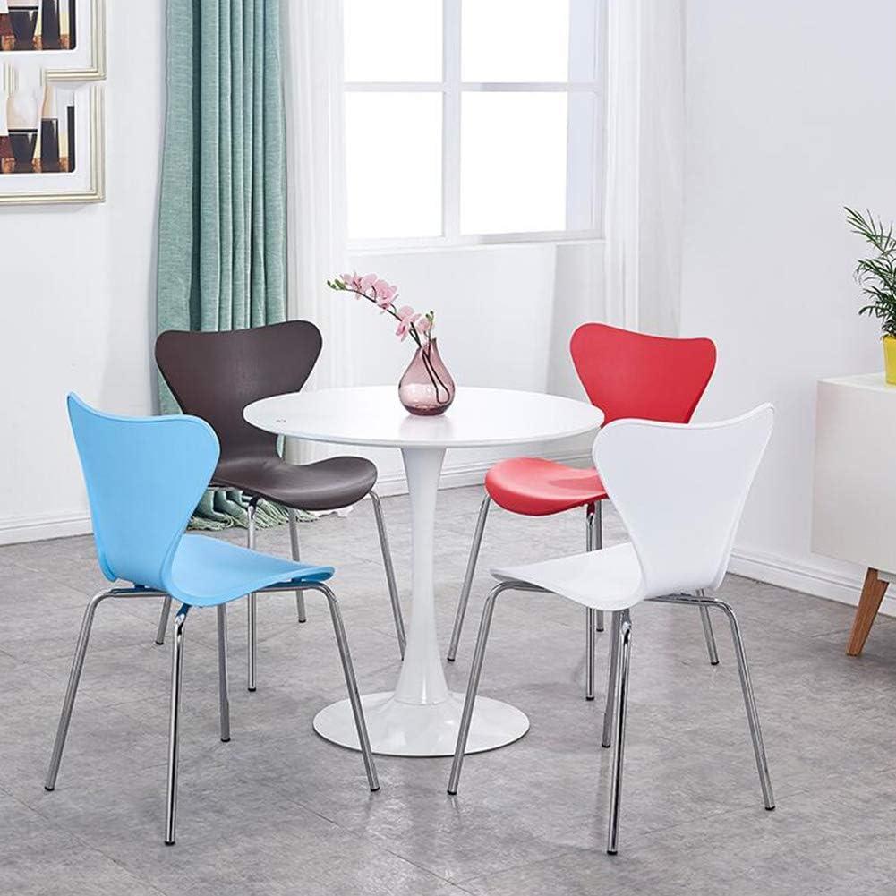 chaise FHW Moderne Minimaliste Plastique Conférence métal Leg étudiant Brillant Couleurs Vives Design Dossier Prévient Plastique + tuyaux en Acier (Color : Black) Brown
