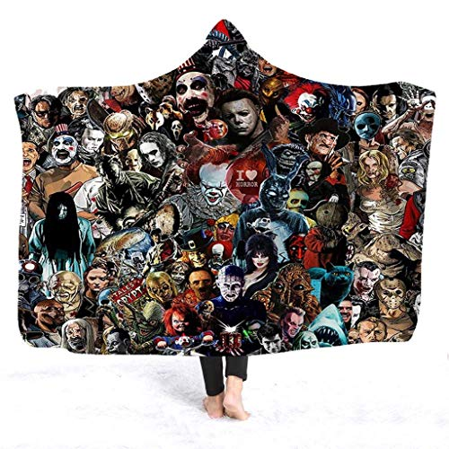 Hooded Blanket by CNKOBE, Horror Mysterious Character Hooded Blanket for Adult Gothic Sherpa Fleece...