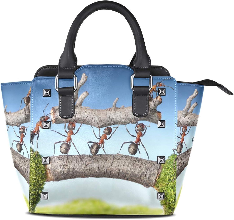 Women's Handbags Ants Carry Log On Bridge Teamwork Tote