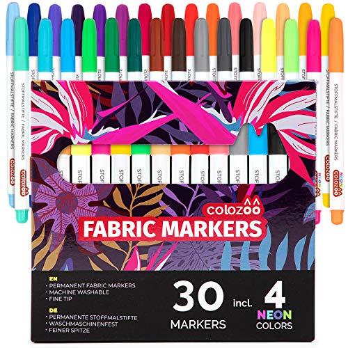 colozoo - Textilstifte Waschmaschinenfest | (30 Farben) inklusive 4 UV-NEON-Leuchtfarben | Für T-Shirt, Jeans, Schuhe, Baumwolle, Leder, Polyester und mehr