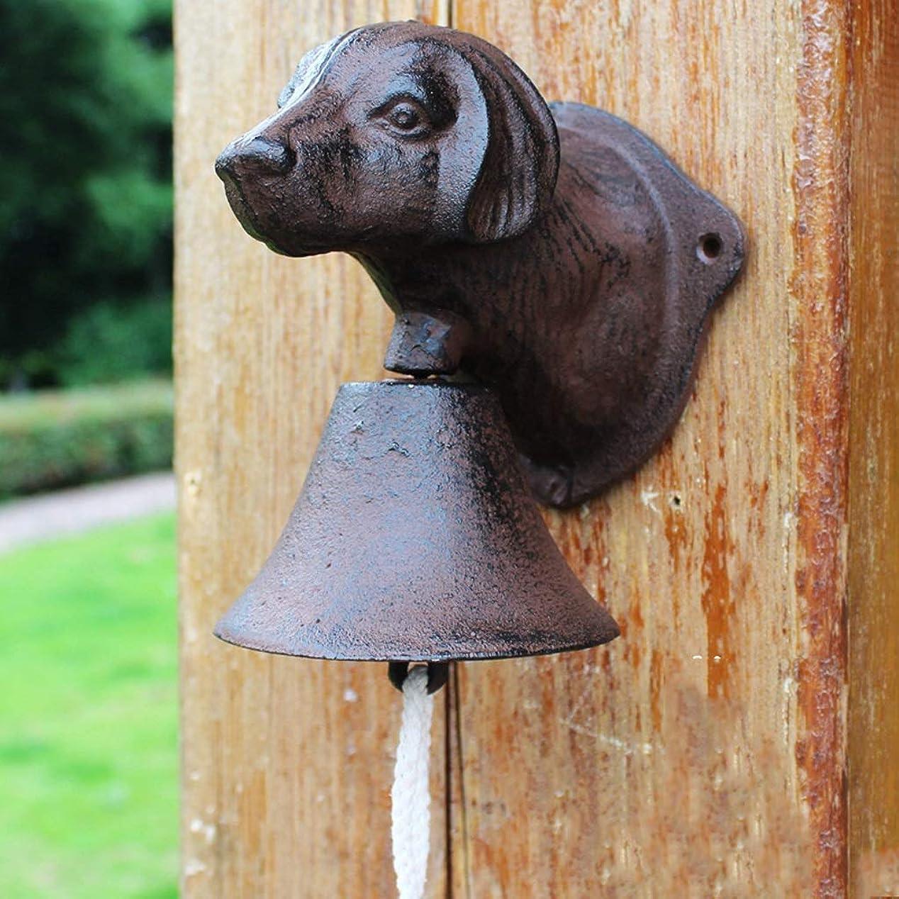 物語ラック持っているCXQ ヨーロッパスタイルレトロカントリー鋳鉄ドアベルウォールペンダントカフェガーデン子犬ヘッド装飾