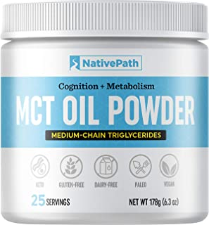 NativePath: MCT Oil Powder - Made from Real Coconut Oil - 25 Servings - Premium Medium-Chain Triglycerides for Energy and ...