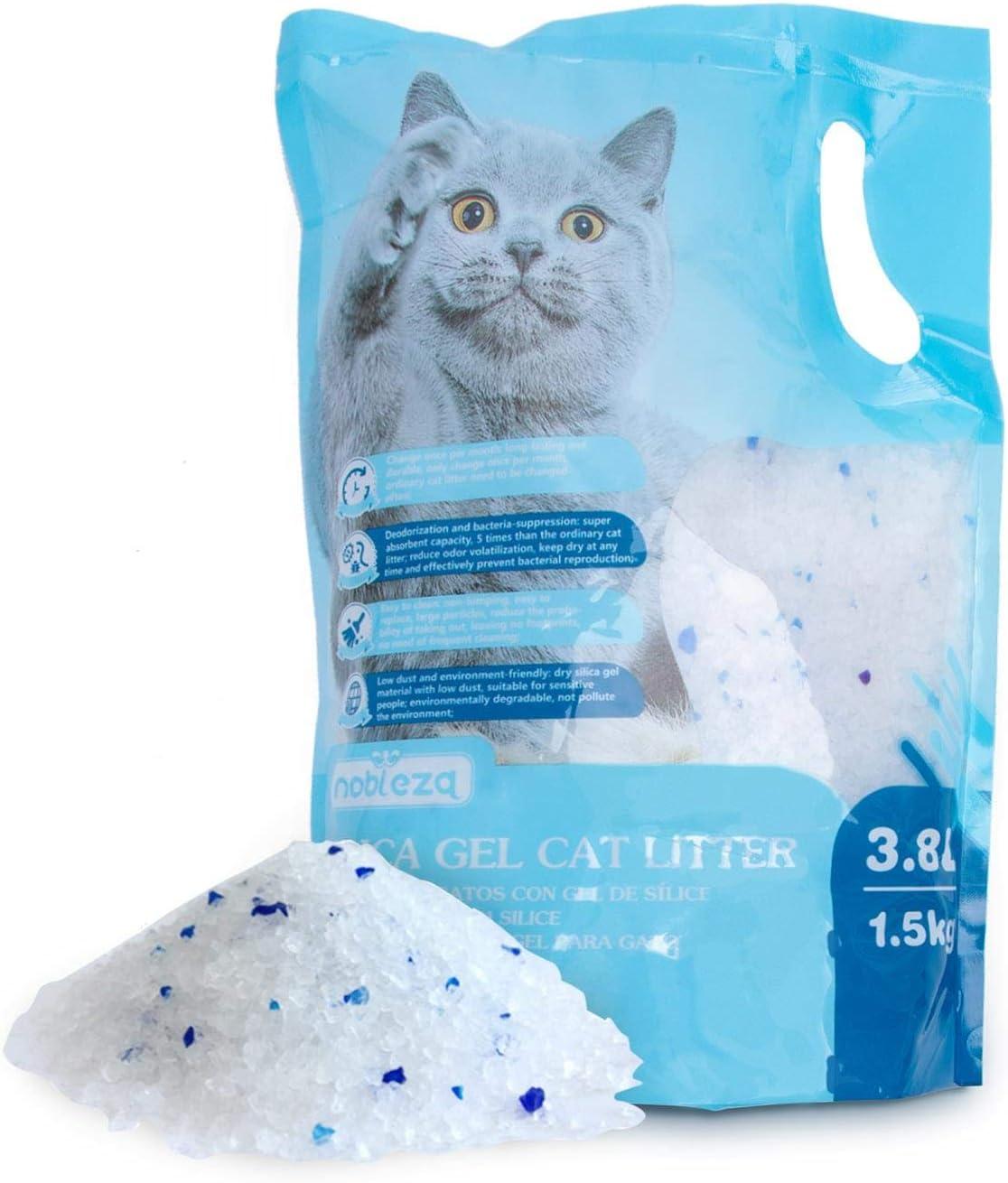 Nobleza - Arena para Gatos de sílice Camada para Gatitos de Gel de Diamante 3.8L Absorbente, Cómodo Biodegradable