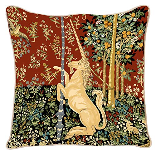 Signare Tapiz Funda de cojín de 45 cm x 45 cm con diseño de mujer y unicornio (unicornio,...