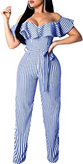 Women Sexy Striped Off Should Ruffle Bandage High Waist Wide Leg Long Pants Jumpsuits Rompers with Belt