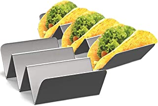 BRITOR Taco Hold Stand, Holds 3 Tacos, Oven, Taco Trays, Grill & Dishwasher Safe - 2pack