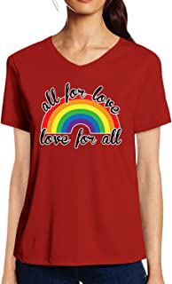 Pooplu Womens All for Love, Love for All with Rainbow Design Cotton Printed V Neck Half Sleeves Multicolour Tshirt. LGBT Tshirts