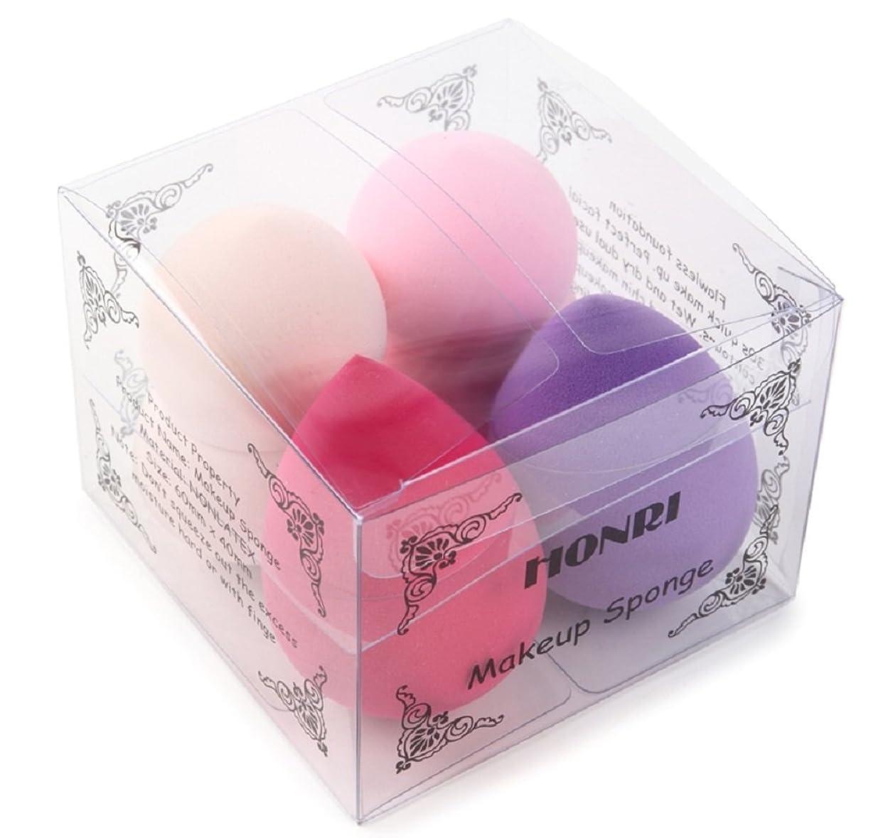 HONRI メイクアップ スポンジパフ 化粧 メイク パフ プロ 用 スポンジ ファンデーション (4色 涙型 ひょうたん型 セット)