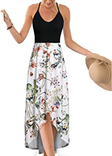 dbe9895a82 FREE Shipping by Amazon. KILIG Women s V Neck Sleeveless Summer  Asymmetrical Patchwork Floral Maxi Dresses