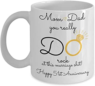 51st Wedding Anniversary Gift For Parents - Mom And Dad - Best Happy 51 St Yr Fifty-One Fifty-First Year Unique Fun Ideas From Kids Son Daughter Coffe