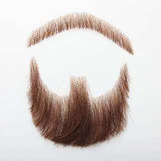 HiDoLa 100% Human Hair Brown Color Fake Face Beard And Mustache For Adults Men And Kids Realistic Makeup Lace Invisible False Beards(HZ06-Brown)