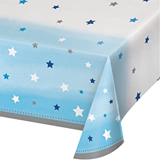 Creative Converting Festive All Over Print Plastic Table Cover, 54-Inch x 102-Inch Size, Blue