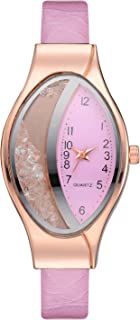 Stylish watch Women's Watch Crystal Quartz Wrist Watch with Oval Dial Rhinestone Fashionable Watch for Elegant Ladies,Pink Watch