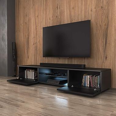Selsey Syvis - Meuble TV Suspendu/Table Basse TV/Banc TV de Salon (140 cm, avec l'éclairage LED Bleue) (Noir Mat/Noir Brillan
