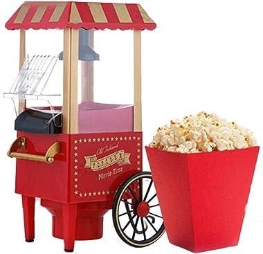 Nostalgia Retro Cart Popcorn Machine Mini Popcorn Maker Family Diy popper Popcorn Machine For Home Party Movie Theater and Bi