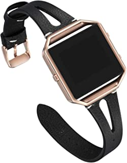 Areziir Slim Leather Bands Compatible with Fitbit Blaze Smart Watch, Genuine Leather Cute Replacement Band