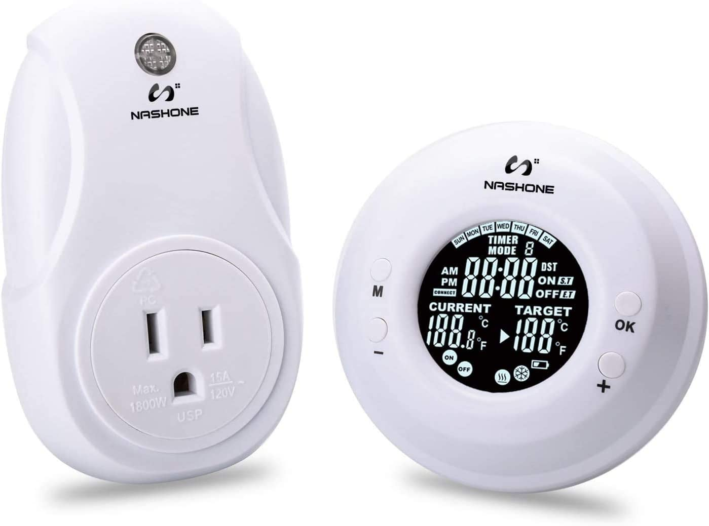 Selling and selling NASHONE 7-Day 4-Period Cheap mail order sales Programmable Outlet Thermostat Wireless E