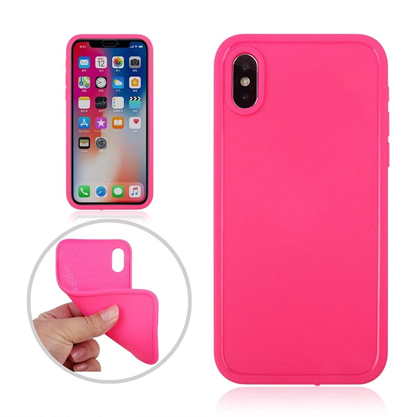 Indexshop Mobile Phone case for Apple iPhone X IPX6 Full Coverage Waterproof Slim Soft TPU PC Solid Color Protective Cover (Hot Pink)