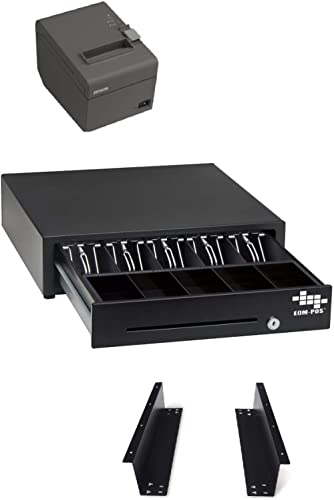 POS Hardware Bundle for Square - Cash Drawer, Mounting Brackets, Thermal Receipt Printer [Compatible with Square Stan...
