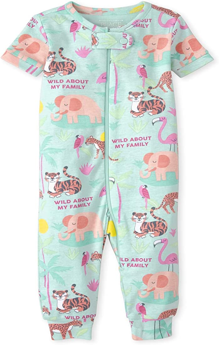 The Children's Place Baby And Toddler Girls Animal Snug Fit Cotton One Piece Pajamas