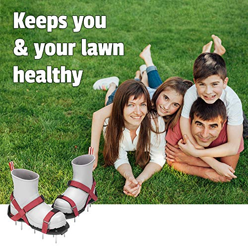 Plantnomics Lawn Aerator Shoes with Hook-and-Loop Straps, Manual, Wrench – Pre-Assembled, Adjustable, Stylish, One-Size-Fits-All – Lawn and Garden Tool Reduces Thatch, Revives Soil Health, Maroon