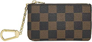 Luxury Zip Checkered Key Chain pouch | PU Vegan Leather Mini Coin Purse Wallet with clasp for Women Men
