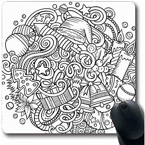 Mousepads Krans Doodles Nieuwjaar Vakanties Contour snoepjes Kaars Viering Kind Kleurplaten Oblong Vorm 18X22Cm Niet-slip Gaming Mouse Pad