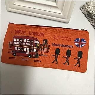 YWSCXMY-AU London Style Pencil Pencil Case Storage Bag Fresh Wallet Zipper Coin Box Student Stationery Bag (Color : Orange)