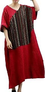 YESNO Y47 Women Long Loose Maxi Dress 'A' Skirt Handcraft Embroidery Asymmetric Hemline Pocket
