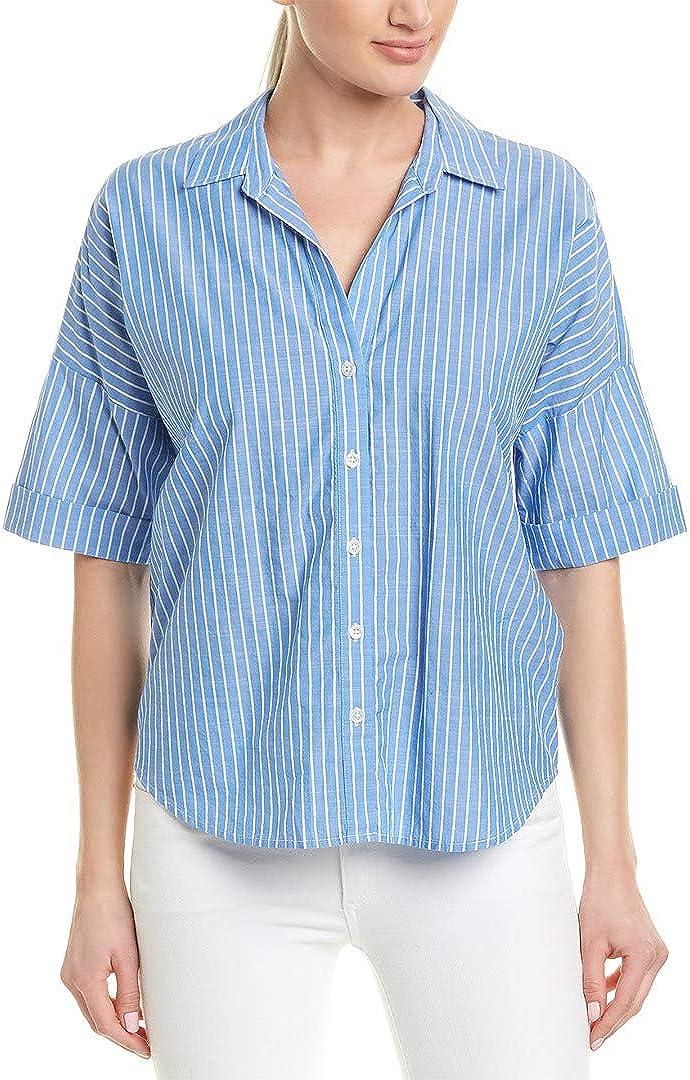 Joie Women's Selsie Cotton Stripe Short Sleeve Button Down