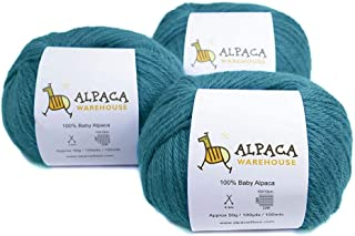 100% Baby Alpaca Yarn Wool Set of 3 Skeins Worsted Weight (Turquoise)