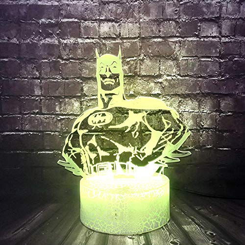 DC Legend Justice League Batman Body Lighting,LED 3D Optical Cartoon Table Lamp with USB Remote 7 Color Change,Night Light for Kid Room Decor Mood Illusion,Holiday Birthday Friend Hollywood Boy Gift…