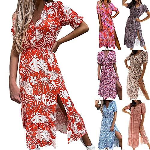 Robes d'été pour femme - Imprimé décontracté - Col en V - Manches courtes - Fourche fendue - Bouton-poussoir - Décontracté - Ample - Pour cocktail, sortie, A - Rouge, L