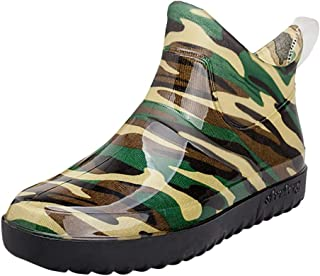 ♫Loosebee♫ Men Short Tube Non-Slip Waterproof Shoes Camouflage Short Rain Boots Plush Warm Fishing Shoes