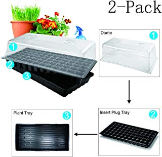BloomGrow Hydroponic Plant Tray Kit 72-Cell Seed Planting Insert Plug Tray + Plastic Plant Growing Tray + Dome+Seedling Heat Mat for Seed Germination (72-Cell Tray+Plastic Plant Tray+Dome+Mat(2-Pack))