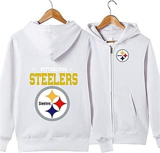 JJCat Men's Long Sleeve Hooded Letters Print Pittsburgh Steelers Football Team Solid Color Zipper Hoodies