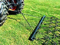 """1045 Carbon Steel. Complete With Heavy Duty Universal Draw Bar, Pull Chains & Tow Ring 1/2"""" Dia x 4"""" Long Tines. 72""""Wide x 66""""Length ( ONE 6' WIDE x 5-1/2' LONG SECTION ) Power Required To Pull - 9HP. Weight - 117 Lbs APPLICATION - The Chain harrow i..."""