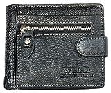 Wild Cartera negro tamaño de bolsillo de cuero suave genuino