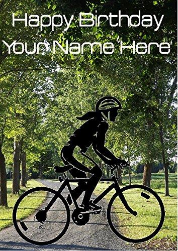 Dames racefiets fietser Fiets mia17 Gelukkige Verjaardag A5 Gepersonaliseerde Wenskaart gepost door ons geschenken voor alle 2016 van DERBYSHIRE UK