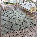 Paco Home In- & Outdoor Teppich Modern Vintage Design Terrassen Teppich Grau, Grösse:60x100 cm