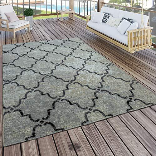 Paco Home In- & Outdoor Teppich Modern Vintage Design Terrassen Teppich Grau, Grösse:80x150 cm