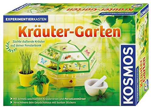 Kosmos 632069 - Kräuter-Garten Züchte duftende Kräuter auf deiner Fensterbank, Mit Gewächshaus und Mörser aus Porzellan, Experimentierkasten für Kinder ab 6 Jahre