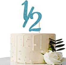 Blue Glitter Half Year Old Cake Topper - Half Year Cake Topper - for Half Year Anniversary/Baby Shower/Baby's Half Year Old Birthday Party Decorations