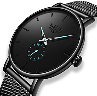 Watch Mens Ultra Thin Wrist Watches for Men Minimalist Casual Fashion Dress Waterproof Quartz Watch with Black Stainless Steel Mesh Band