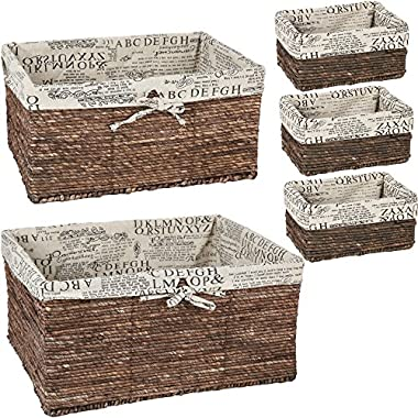 Juvale Nesting Basket – 5-Piece Utility Storage Baskets, Brown Wicker Decorative Organizing Baskets for Shelves, Kitchen, Bathroom, and Bedroom - 3 Small, 1 Medium, 1 Large