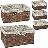 Juvale Wicker Basket, Woven Storage Baskets (Brown, 5 Piece Set)