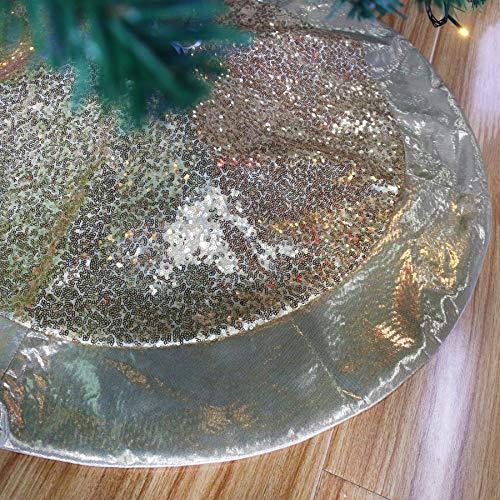 Houwsbaby - Falda de árbol de Navidad de lentejuelas doradas de escala de lujo con adornos de satén brillante, decoración de paillette brillante, capas dobles, suministros de adorno de alfombra de