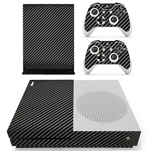 Dotbuy - Adhesivo de vinilo para Xbox One S, consola y mando inalámbrico (fibra de carbono), color negro