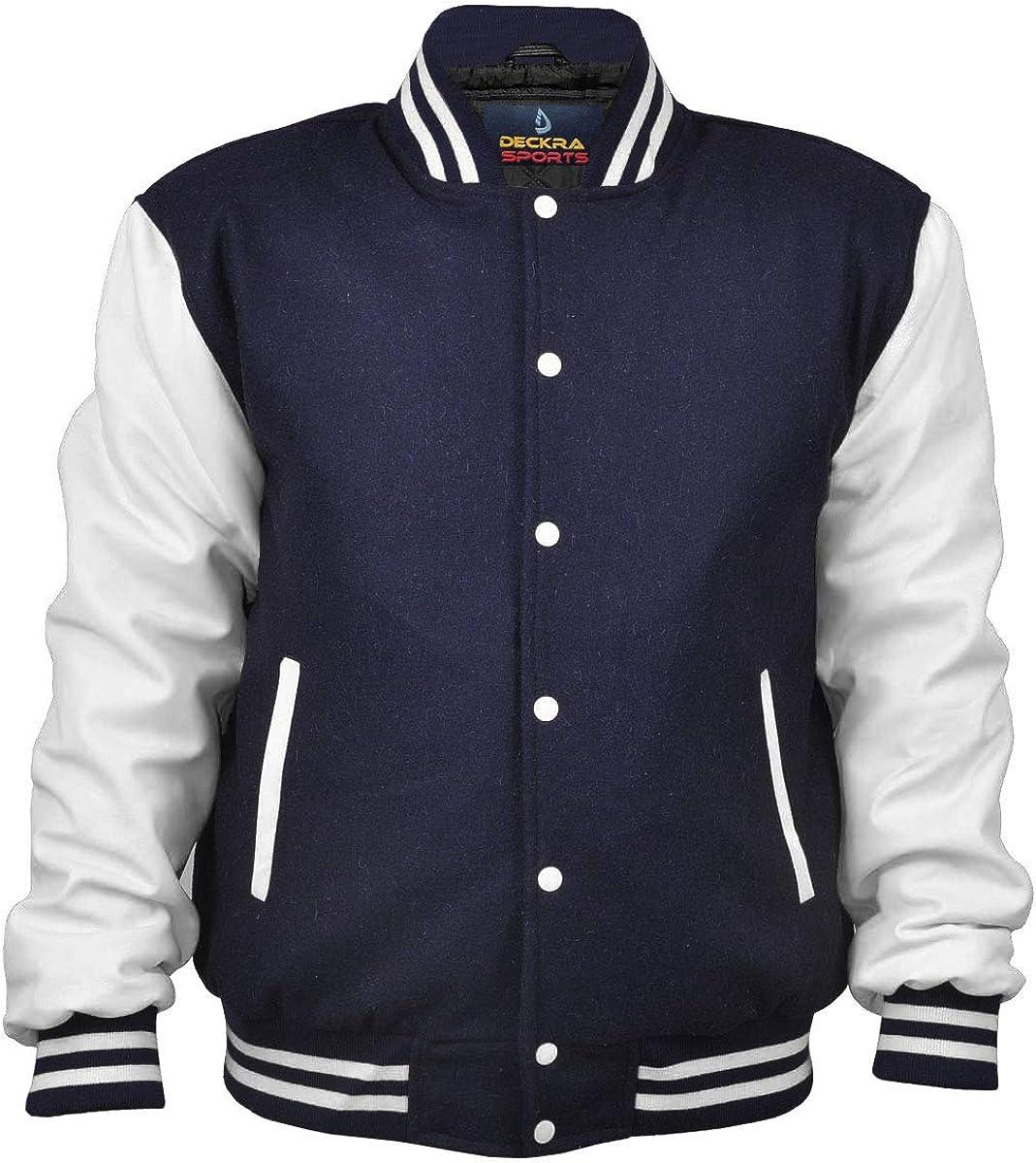 Men's Varsity Jacket Genuine Leather Sleeve and Wool Blend Letterman Boys College Varsity Jackets XXS-5XL (Navy Blue-White, Small)
